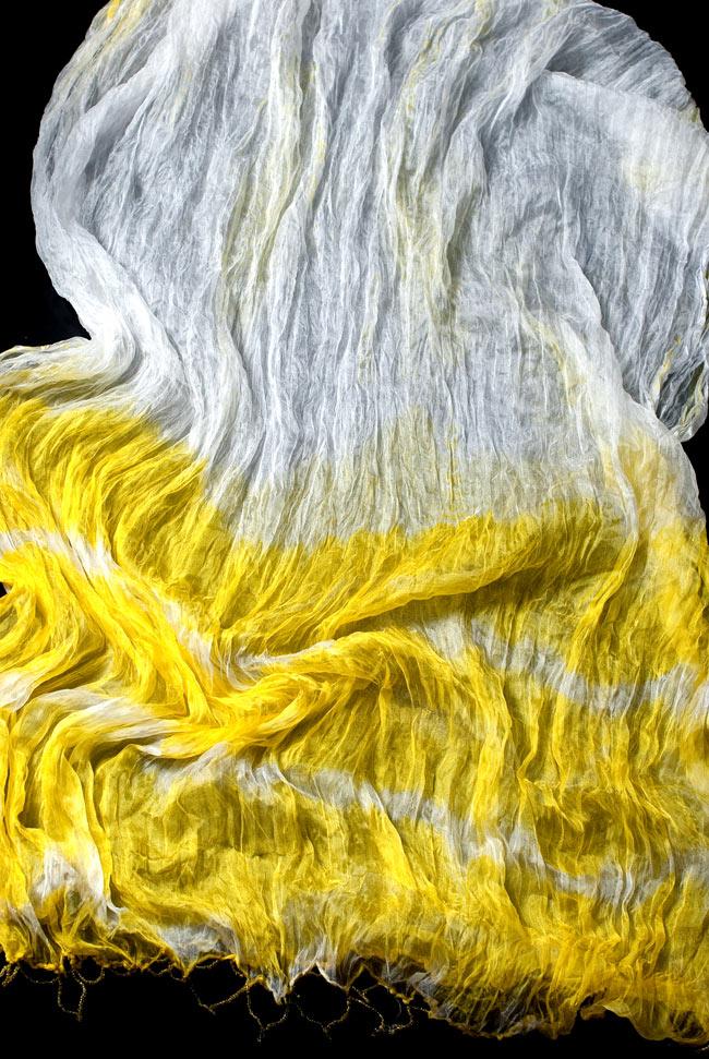インドの薄ショール クリンクル タイダイドゥパッタ - レモンの写真