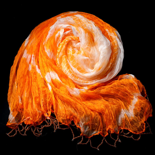 インドの薄ショール クリンクル タイダイドゥパッタ - やまぶき 2 - 鮮やかでビビッドな色彩が綺麗です