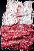インドの薄ショール クリンクル タイダイドゥパッタ - ブラウンピンク