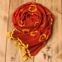 大きな模様の絞り染めドゥパッタ - 薄茶&黄