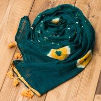 大きな模様の絞り染めドゥパッタ - グリーン&黄