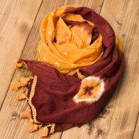 大きな模様の絞り染めドゥパッタ - ブラウン&黄