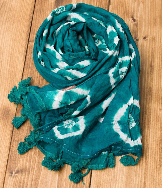 大きな模様の絞り染めドゥパッタ - エメラルドの写真