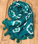 大きな模様の絞り染めドゥパッタ - エメラルドの商品写真