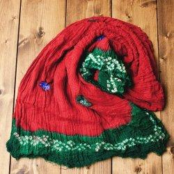 〔2枚セット〕あなたが完成させる 伝統の絞り染めストール バンデジ - 赤×緑系