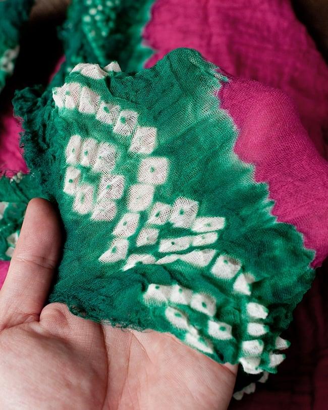 〔2枚セット〕あなたが完成させる 伝統の絞り染めストール バンデジ - ビビットピンク×緑系 4 - ふんわりとした生地です