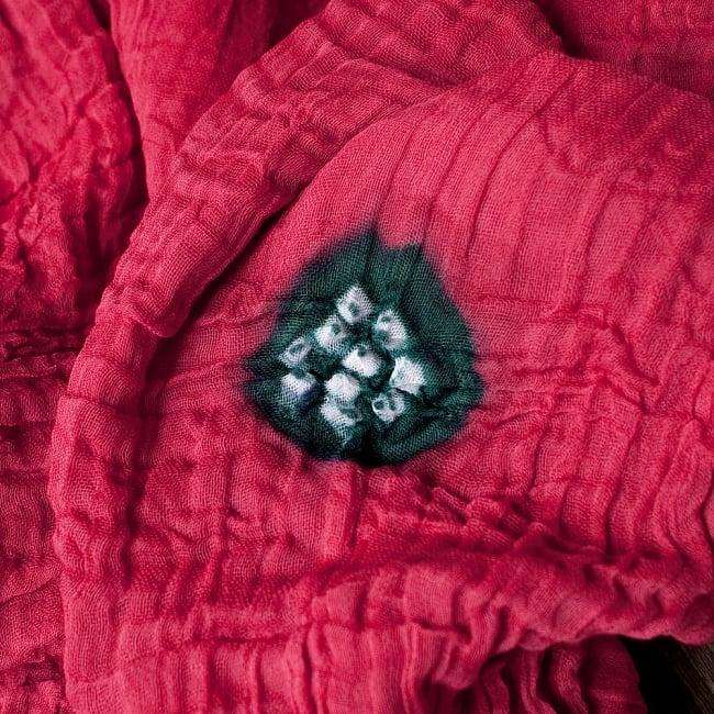 〔2枚セット〕あなたが完成させる 伝統の絞り染めストール バンデジ - レッド系 2 - 色を染めたくないところに糸を結んで、そこが模様として浮かび上がります。