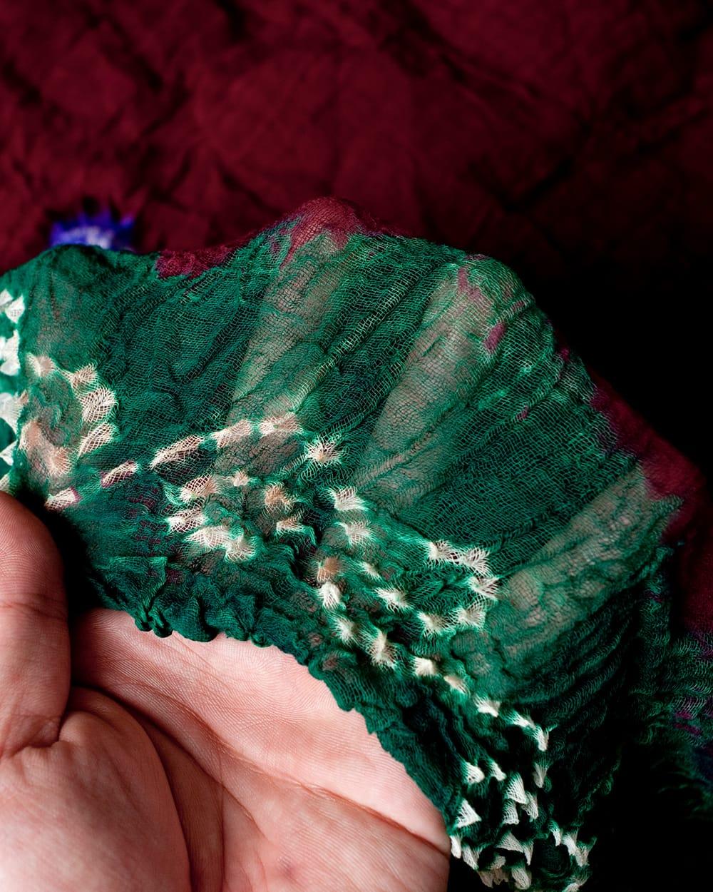 〔2枚セット〕あなたが完成させる 伝統の絞り染めストール バンデジ - 赤茶×緑系 4 - ふんわりとした生地です