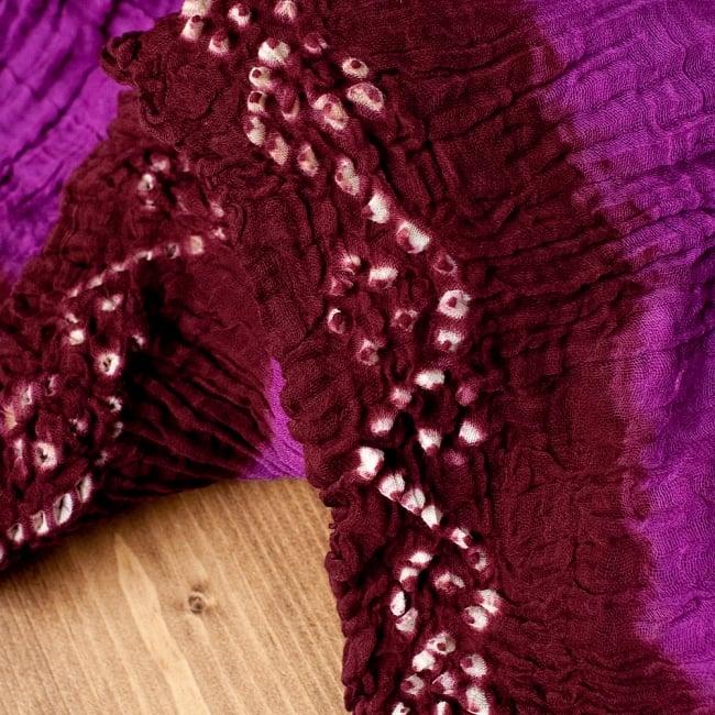 〔2枚セット〕あなたが完成させる 伝統の絞り染めストール バンデジ - 紫×茶系 3 - 一箇所ずつ丁寧に糸を結んでつくられています