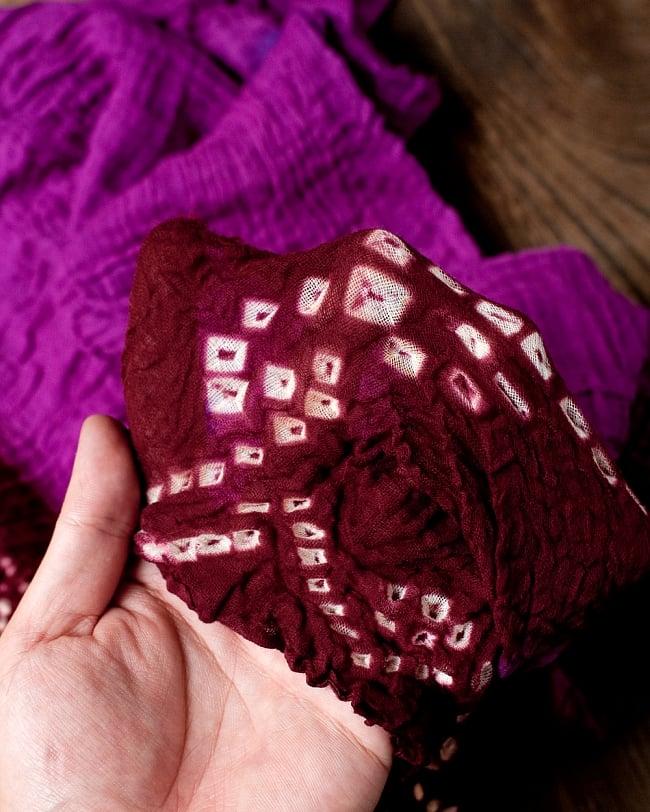 〔2枚セット〕あなたが完成させる 伝統の絞り染めストール バンデジ - 紫×茶系 4 - ふんわりとした生地です