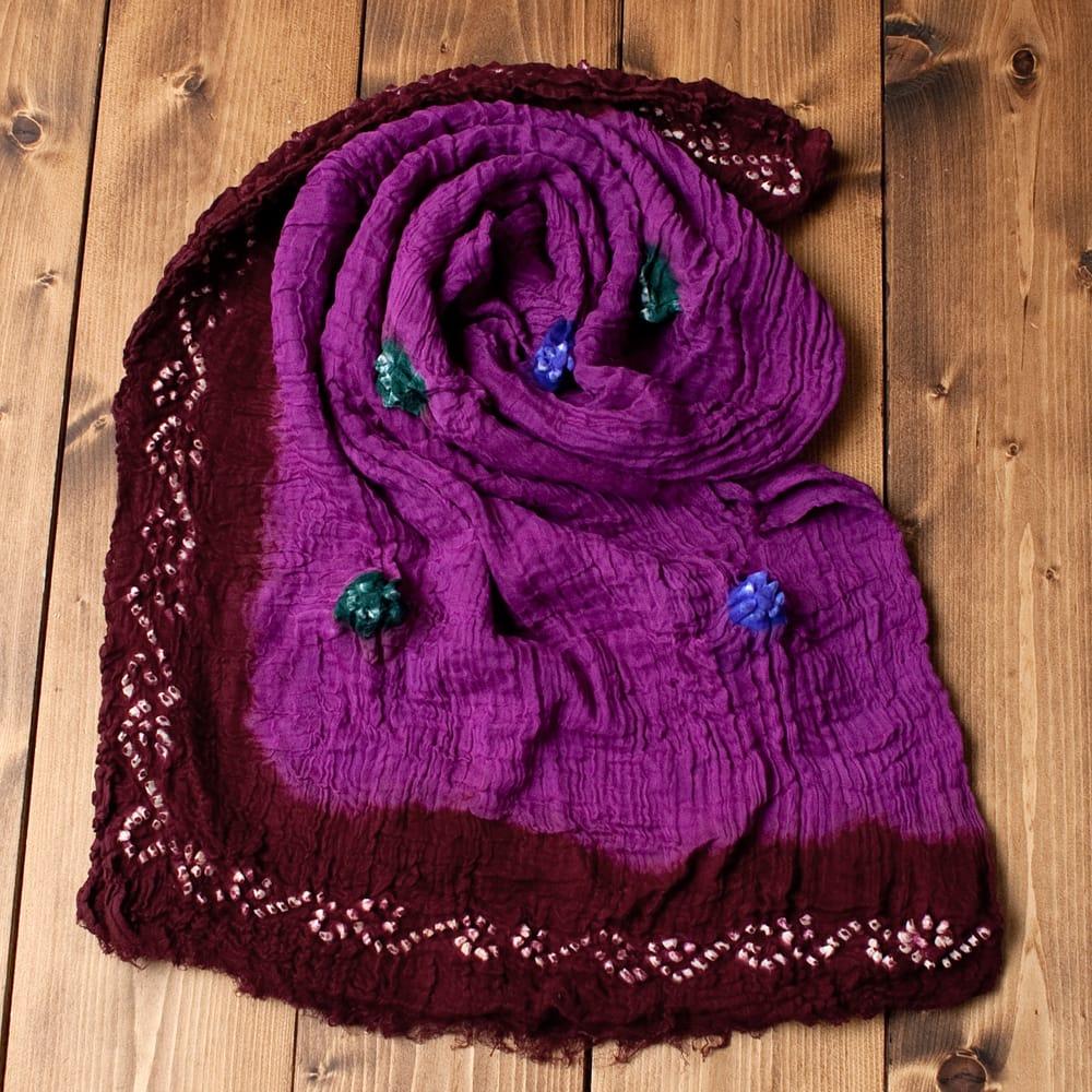 〔2枚セット〕あなたが完成させる 伝統の絞り染めストール バンデジ - 紫×茶系の写真
