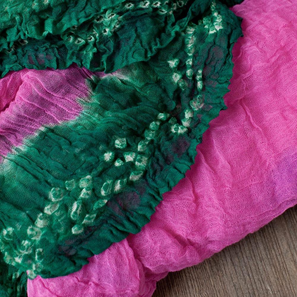 〔2枚セット〕あなたが完成させる 伝統の絞り染めストール バンデジ - ピンク×緑系 3 - 一箇所ずつ丁寧に糸を結んでつくられています