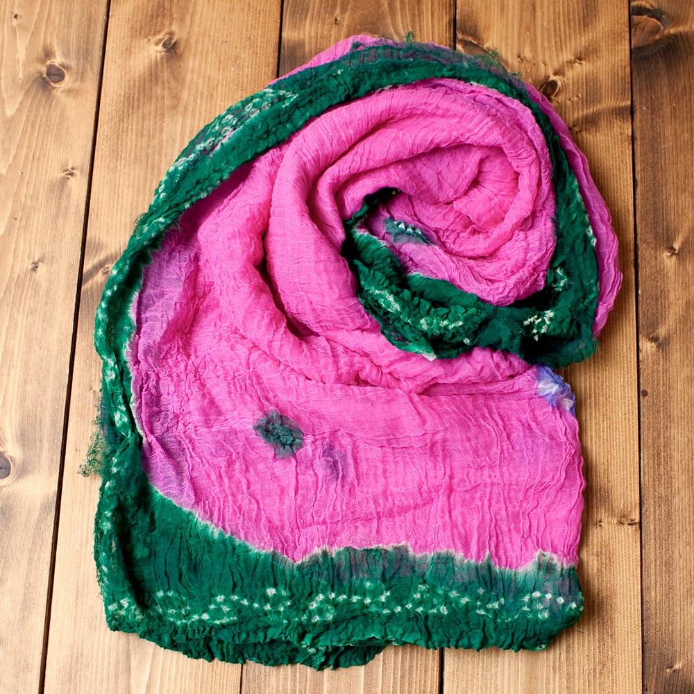 〔2枚セット〕あなたが完成させる 伝統の絞り染めストール バンデジ - ピンク×緑系の写真