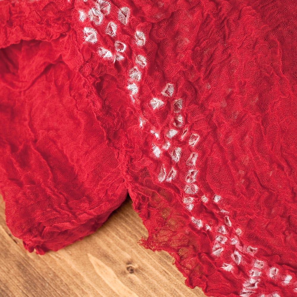 〔2枚セット〕あなたが完成させる 伝統の絞り染めストール バンデジ - 赤系 3 - 一箇所ずつ丁寧に糸を結んでつくられています