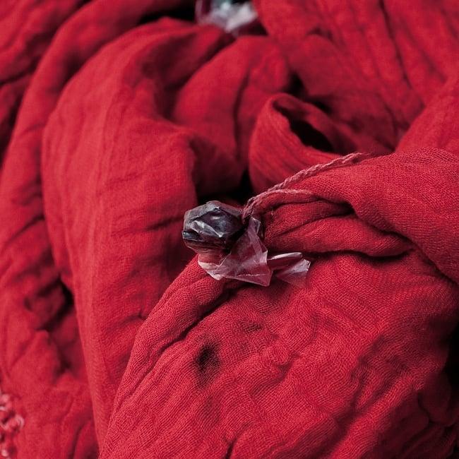 〔2枚セット〕あなたが完成させる 伝統の絞り染めストール バンデジ - 赤系 7 - どういう風に布を染め上げ、作っているのかがよくわかる布です。