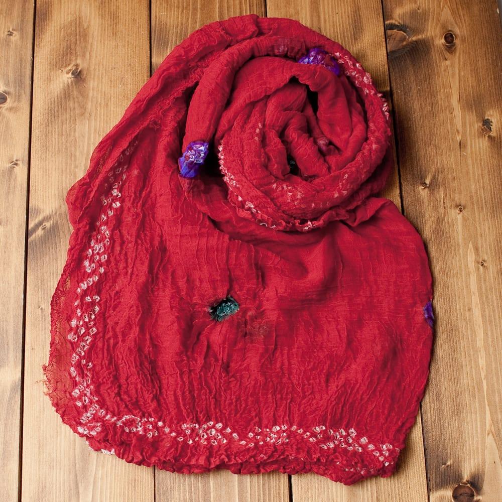 〔2枚セット〕あなたが完成させる 伝統の絞り染めストール バンデジ - 赤系の写真