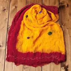 〔2枚セット〕あなたが完成させる 伝統の絞り染めストール バンデジ - 黄色×赤系