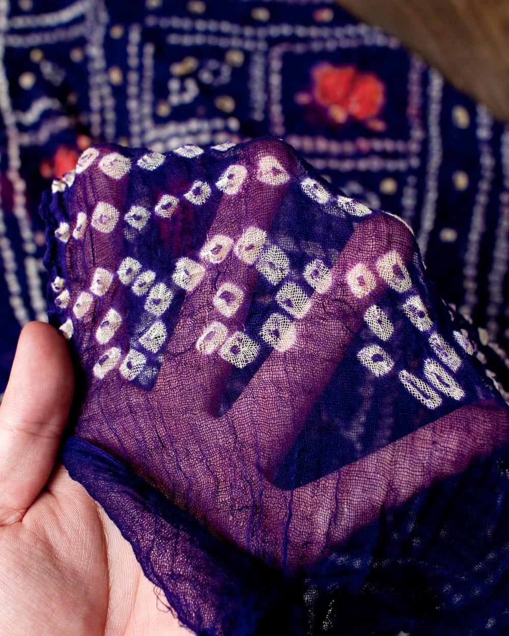 あなたが完成させる 伝統の絞り染めストール バンデジ - 紫系 4 - ふんわりとした生地です