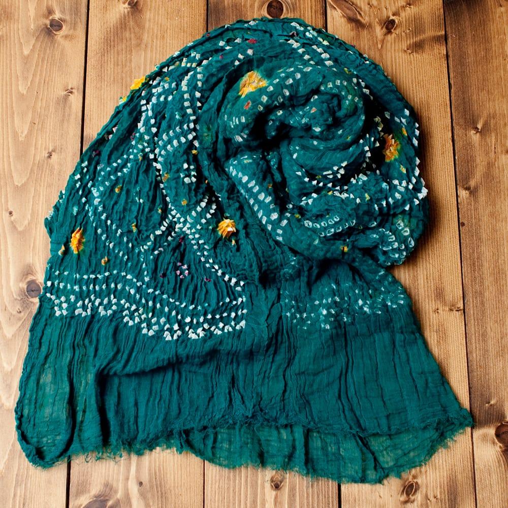 あなたが完成させる 伝統の絞り染めストール バンデジ - 青緑の写真