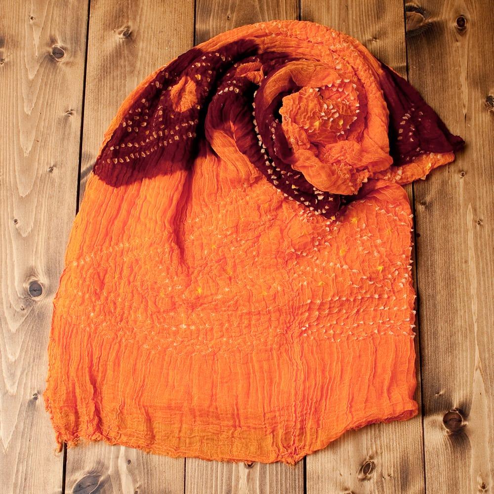 あなたが完成させる 伝統の絞り染めストール バンデジ - オレンジ×茶系の写真