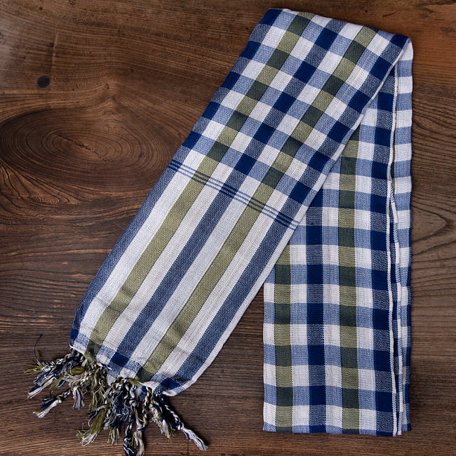 カンボジアからやってきた万能布 クロマーSサイズ【約40cm×130-160cm】 2 - コットン製だから吸収性もよく、速乾で本当に使いやすい1枚です。