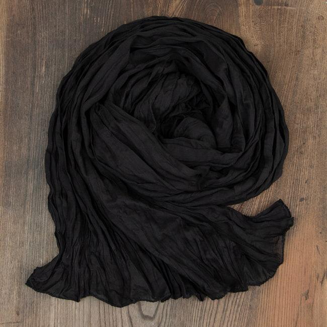 プレーン無地のインドのクリンクルストール 14 - 5:ブラック