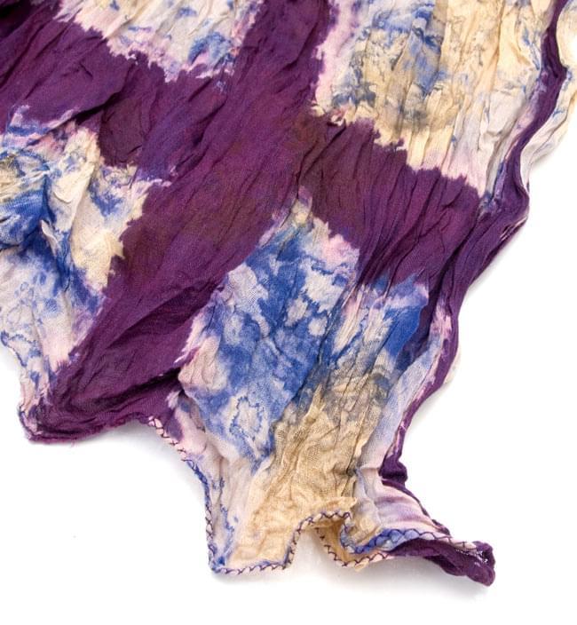 【タイダイ】インドのクリンクルストール- 紫 3 - 端の部分はこのようになっております