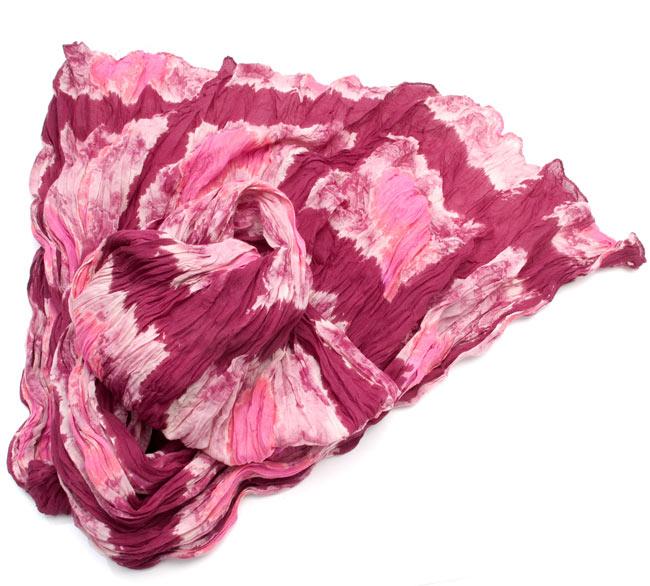 【タイダイ】インドのクリンクルストール- 赤×ピンクの写真