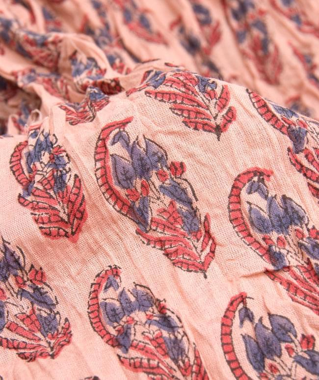 【ウッドブロック】インドのクリンクルストール- 退紅色の写真4 - 柄の一部を拡大してみたところです