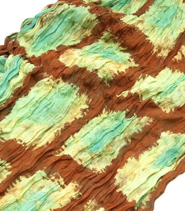 (タイダイ) インドのクリンクルストール -  茶色×エメラルドグリーン 2 - 幅もあるので、使い勝手が良いです。