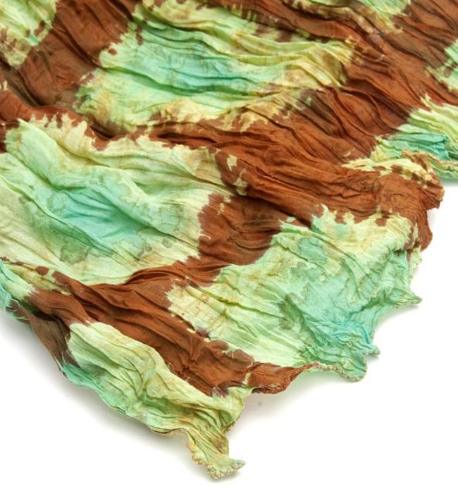 (タイダイ) インドのクリンクルストール -  茶色×エメラルドグリーン 3 - 端の部分はこのようになっております