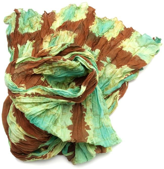 (タイダイ) インドのクリンクルストール -  茶色×エメラルドグリーンの写真