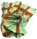 【タイダイ】インドのクリンクルストール- 茶色×エメラルドグリーン