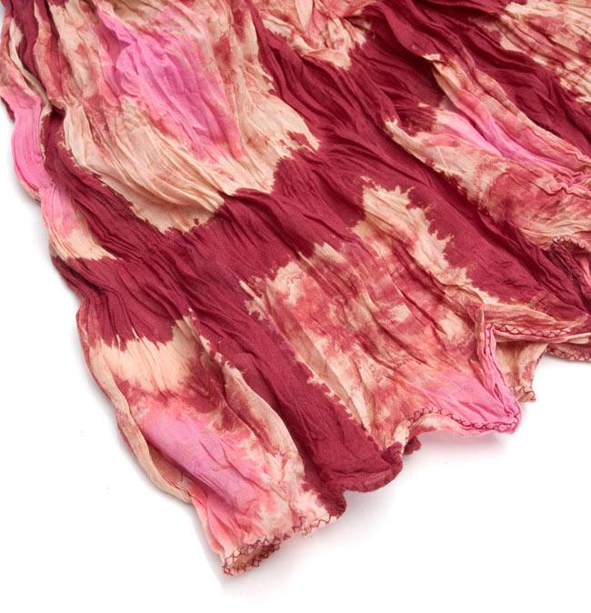 【タイダイ】インドのクリンクルストール- 小豆色×ピンクの写真3 - 端の部分はこのようになっております