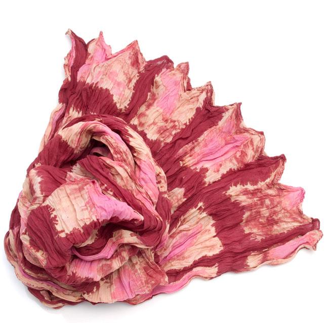 【タイダイ】インドのクリンクルストール- 小豆色×ピンクの写真
