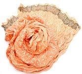 (ウッドブロック)インドのクリンクルストール - 薄オレンジ×白