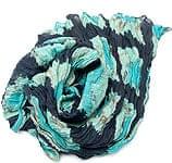 【タイダイ】インドのクリンクルストール- 黒×水色