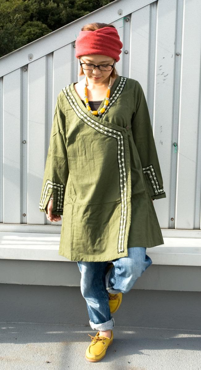 長袖ネパールのカシュクール風ワンピース[緑]の写真