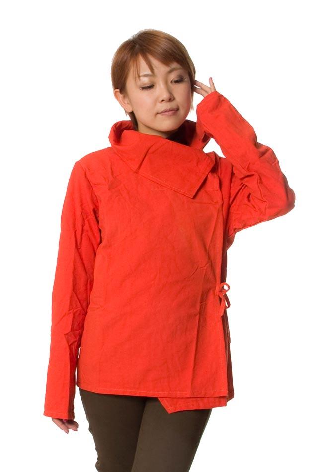 ウッドボタンのカシュクールジャケット 【オレンジ】の写真