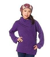 ウッドボタンのカシュクールジャケット 【紫】