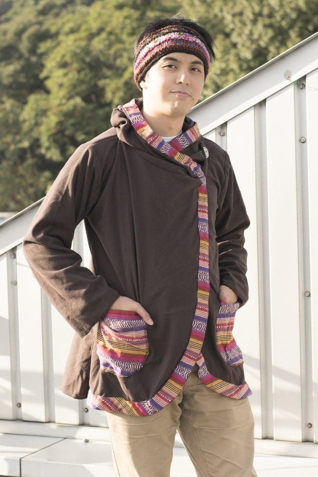 ネパールゲリラインのフリースジャケットの写真13 - ブラウン
