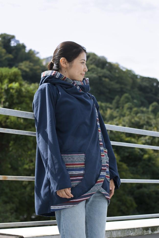 ネパールゲリラインのフリースジャケットの写真3 - L:ネイビー(ゲリ素材のポケット)