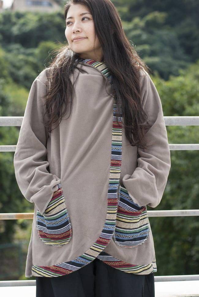 ネパールゲリラインのフリースジャケットの写真9 - M:グレー(ゲリ素材のポケット)