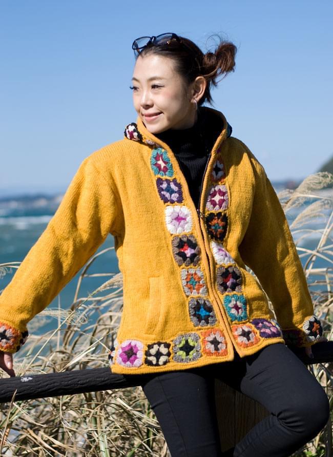 フラワーモチーフのウールジャケットの写真5 - E:イエロー:Sサイズを着てみました。