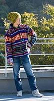 ネパール民族織り布のカラフルジャケット