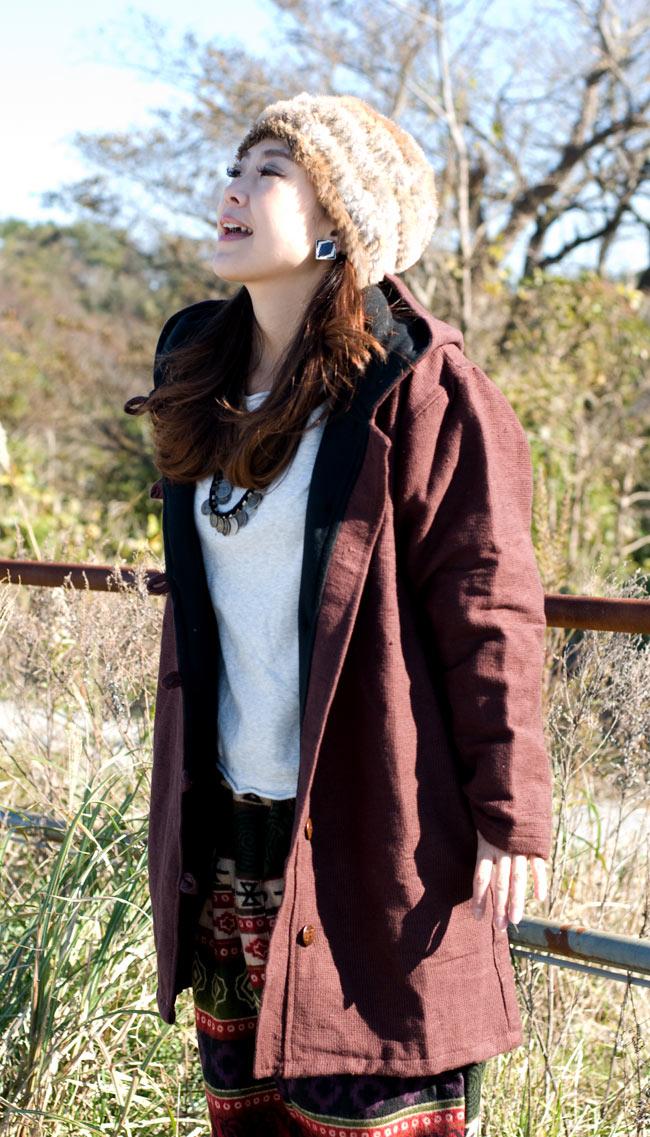 ネパールのコットンジャケット 5 - ブラウン:身長150�のスタッフがMサイズを着てみました。温かくて着心地よいです!