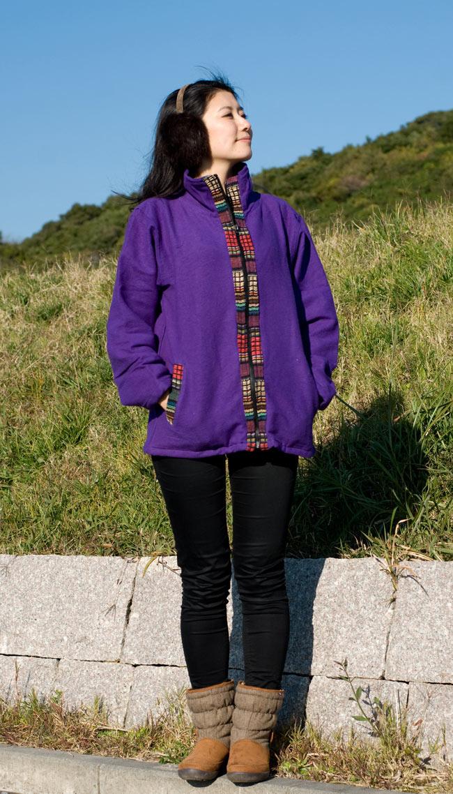 ゲリラインのライトジャケットの写真2 - B:パープル:身長165�の女性スタッフが着てみました。
