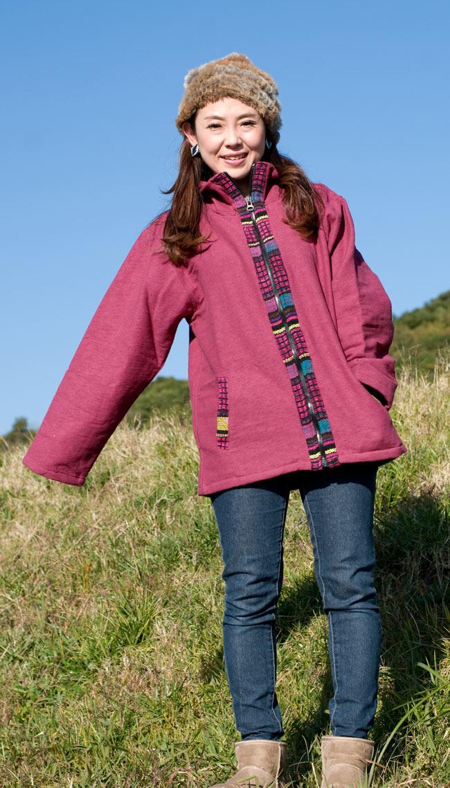 ゲリラインのライトジャケットの写真3 - C:えんじ:身長150�の女性スタッフが着てみました。