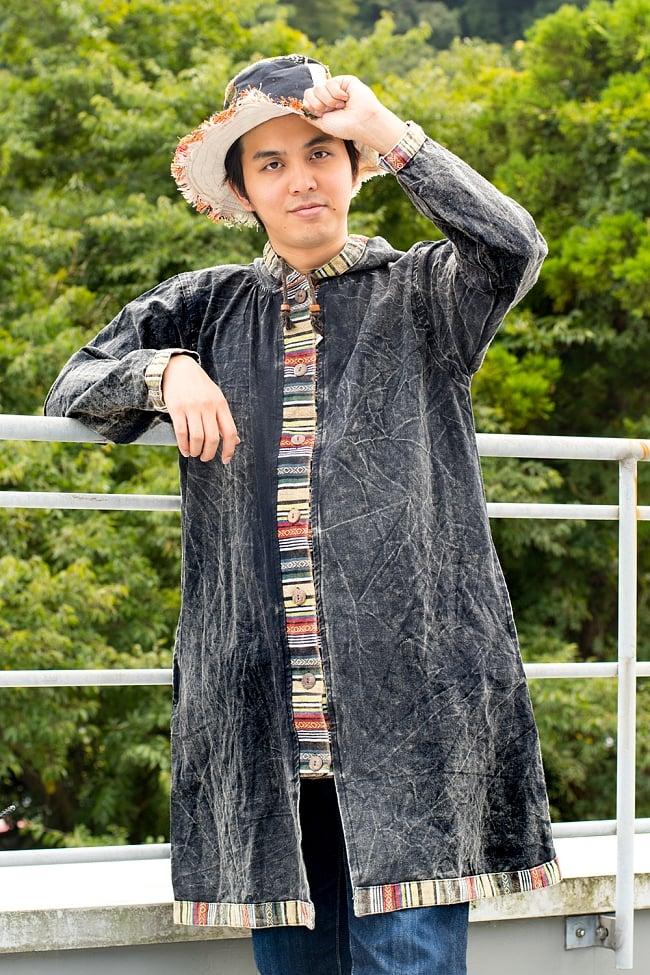ネパールゲリとストーンウォッシュのロングコート 15 - 選択E:ブラック 伸長170cmの男性モデルでもかっこよく着こなせます!