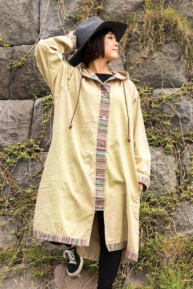 ネパールゲリとストーンウォッシュのロングコート 4 - 選択B:クリームの着用例です。